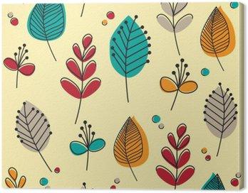 Canvas Print Retro leaves and flowers
