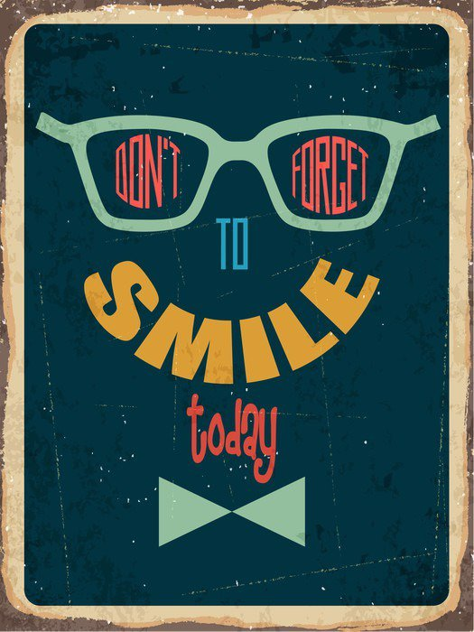 """Retro metal sign """" Dont't forget to smile"""" Canvas Print - States of Mind"""