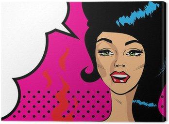Retro Pop Art Hot Woman Love Vector illustration of smile female