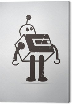 retro robot cartoon Canvas Print