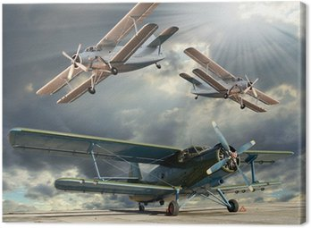 Canvas Print Retro style picture of the biplanes. Transportation theme.