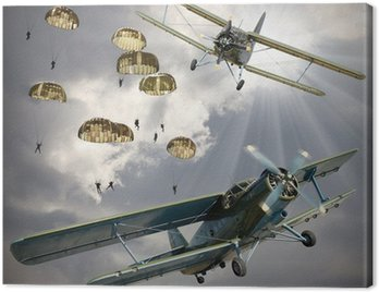 Retro style picture of the biplanes with airborne infantry.