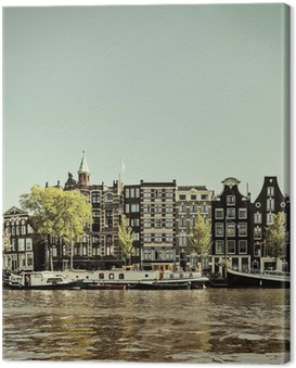 Canvas Print Retro styled image of an Amsterdam canal