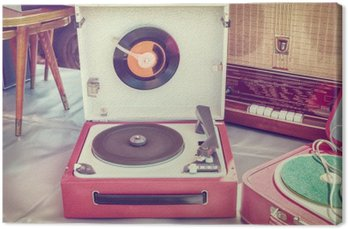 Canvas Print Retro styled image of an old record player