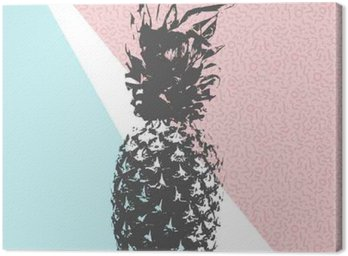 Retro summer pineapple design with 80s shapes