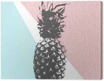 Canvas Print Retro summer pineapple design with 80s shapes