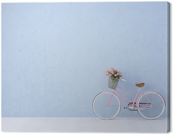 Canvas Print retro vintage bicycle old and blue wall. 3d rendering
