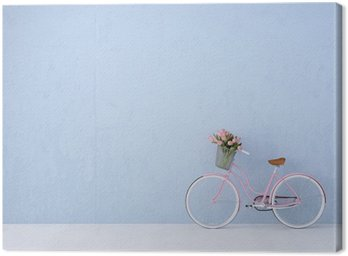 retro vintage bicycle old and blue wall. 3d rendering Canvas Print