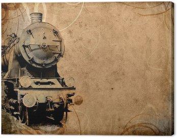 Canvas Print retro vintage technology, old train, grunge background