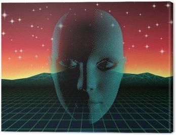 Canvas Print Retro wave shiny head silhouette over neon landscape