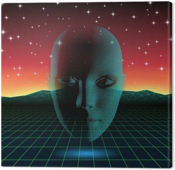 Retro wave shiny head silhouette over neon landscape Canvas Print