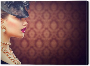 Retro Woman. Vintage Styled Girl with Retro Hairstyle and Makeup Canvas Print