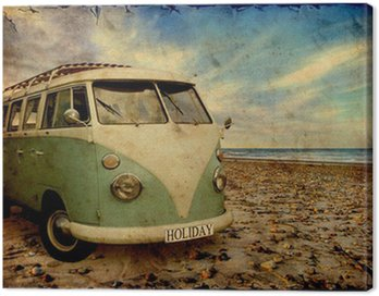 Canvas Print Retroplakat - Bulli am Strand