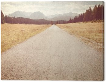 Canvas Print Road towards the mountains - Vintage image