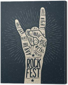 Canvas Print Rock festival poster, flyer. Vector hand draw styled illustration.