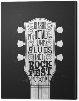 Canvas Print Rock Music Festival Poster. Vintage styled vector illustration.
