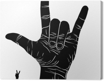 Canvas Print Rock on hand sign, rock n roll, hard rock, heavy metal, music