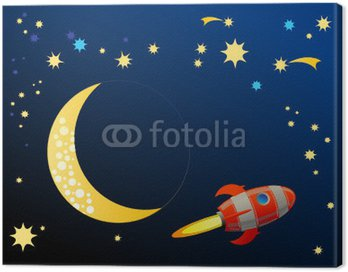 Canvas Print Rocket in space, vector illustration