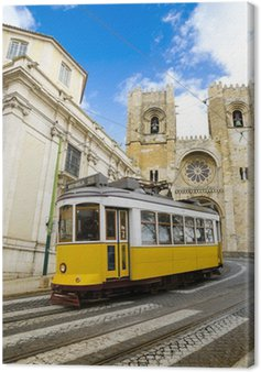 Canvas Print Romantic Lisbon street with the typical yellow tram
