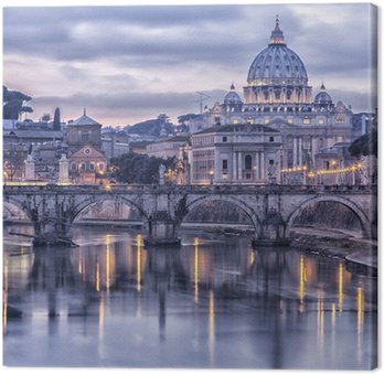 Rome and the river tiber at dusk Canvas Print