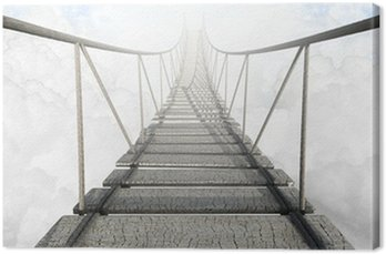 Rope Bridge Above The Clouds Canvas Print