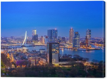 Rotterdam at Twilight from Euromast Canvas Print