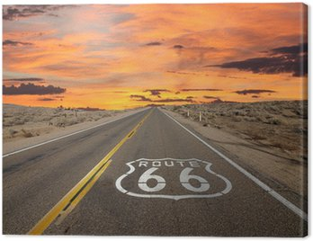 Canvas Print Route 66 Pavement Sign Sunrise Mojave Desert