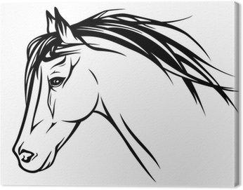 running horse head - realistic vector illustration