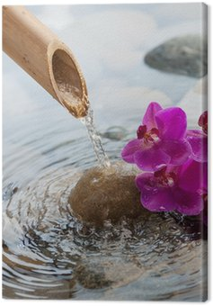Canvas Print running water on stones next to flowers