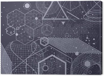 Sacred geometry symbols and elements background. Cosmic, universe, bing bang, alchemy, religion, philosophy, astrology, science, physics, chemistry and spirituality themes. Canvas Print
