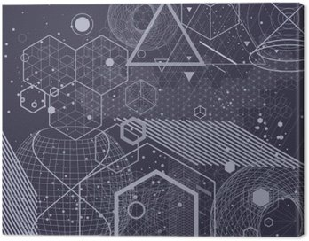 Canvas Print Sacred geometry symbols and elements background. Cosmic, universe, bing bang, alchemy, religion, philosophy, astrology, science, physics, chemistry and spirituality themes.