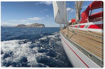 Canvas Print Sail Boat in Sardinia coast, Italy