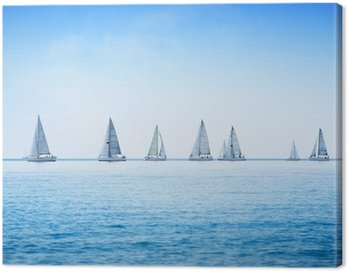 Sailing boat yacht regatta race on sea or ocean water Canvas Print