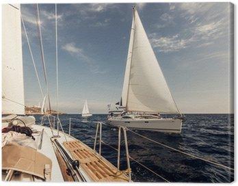 Canvas Print Sailing ship yachts with white sails