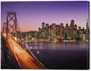 Canvas Print San Francisco skyline and Bay Bridge at sunset, California