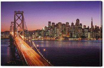San Francisco skyline and Bay Bridge at sunset, California Canvas Print