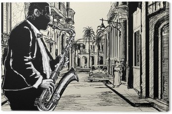 Canvas Print saxophonist in a street of Cuba
