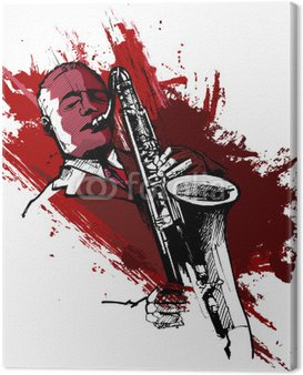 Canvas Print saxophonist on a grunge background