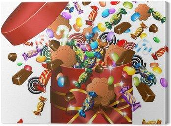Canvas Print Scatola Caramelle Cioccolato e Biscotti-Candies Gift-Vector