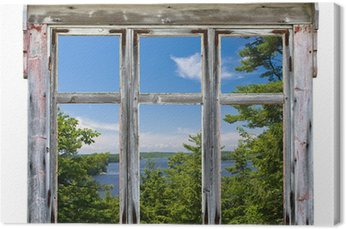 Canvas Print Scenic view seen through an old window frame