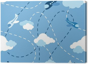 Canvas Print Seamless airplane pattern