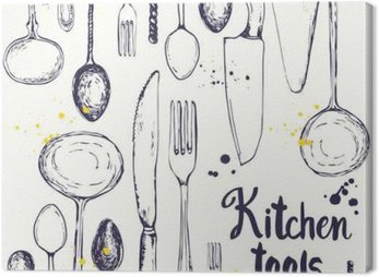 Canvas Print Seamless background with eating utensils. Menu pattern.