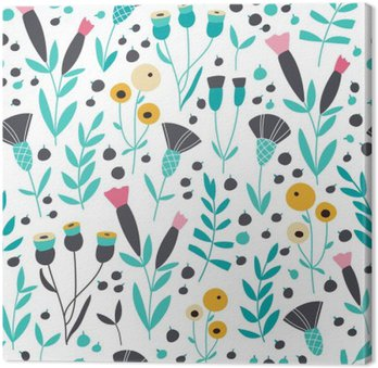 Seamless bright scandinavian floral pattern Canvas Print