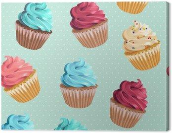 Canvas Print Seamless cupcakes and polka dot
