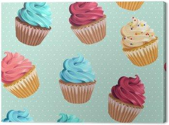 Seamless cupcakes and polka dot Canvas Print