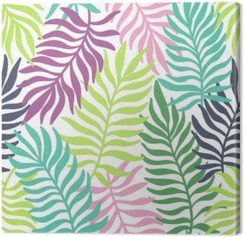 Seamless exotic pattern with palm leaves Canvas Print