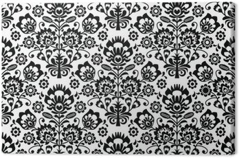 Seamless floral polish pattern in black and white