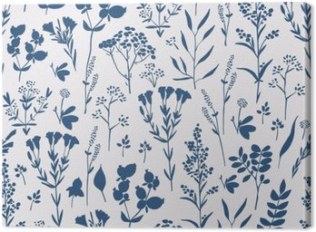 Canvas Print Seamless hand-drawn floral pattern with herbs