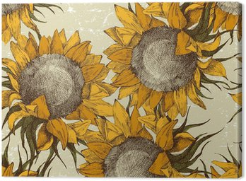 Canvas Print seamless ornament with sunflowers