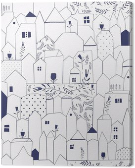 Canvas Print Seamless pattern. Figure cities in vintage style.